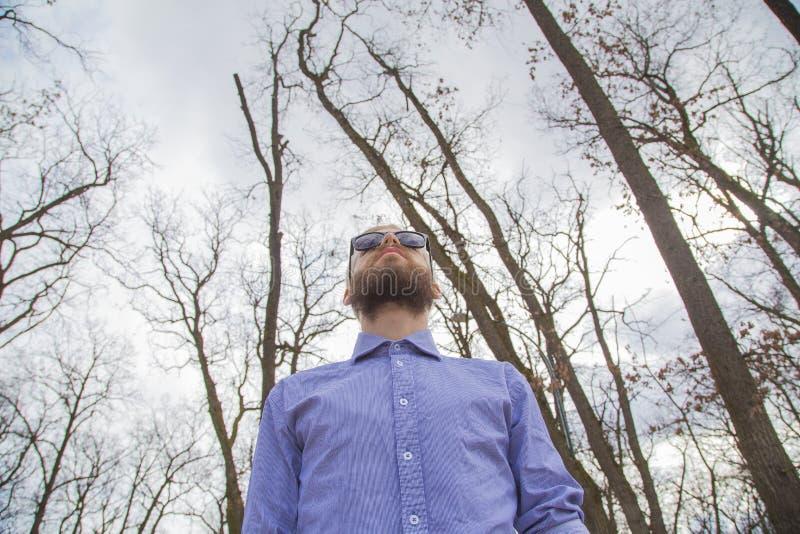 Mann im Holz lizenzfreie stockfotografie