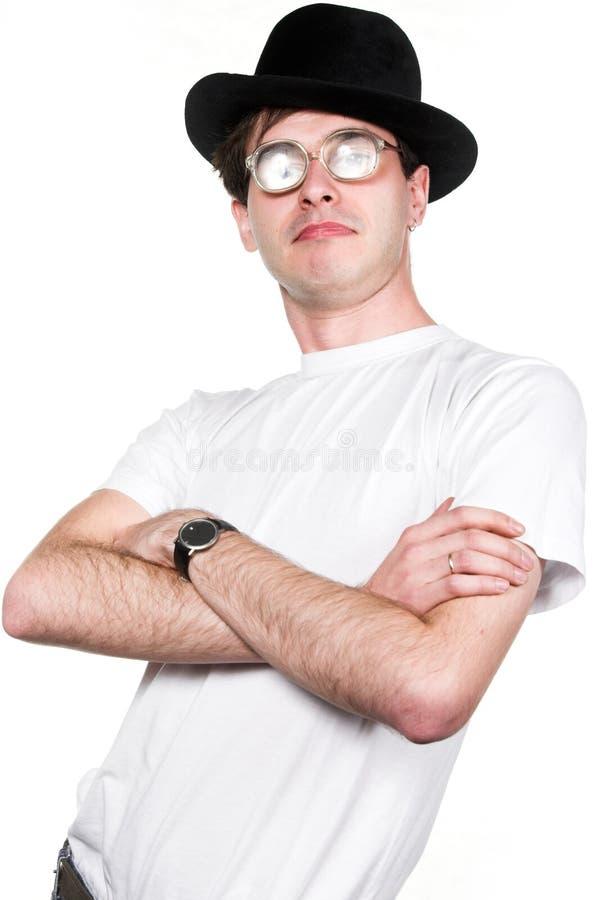 Mann im Hut und in den Gläsern lizenzfreies stockbild