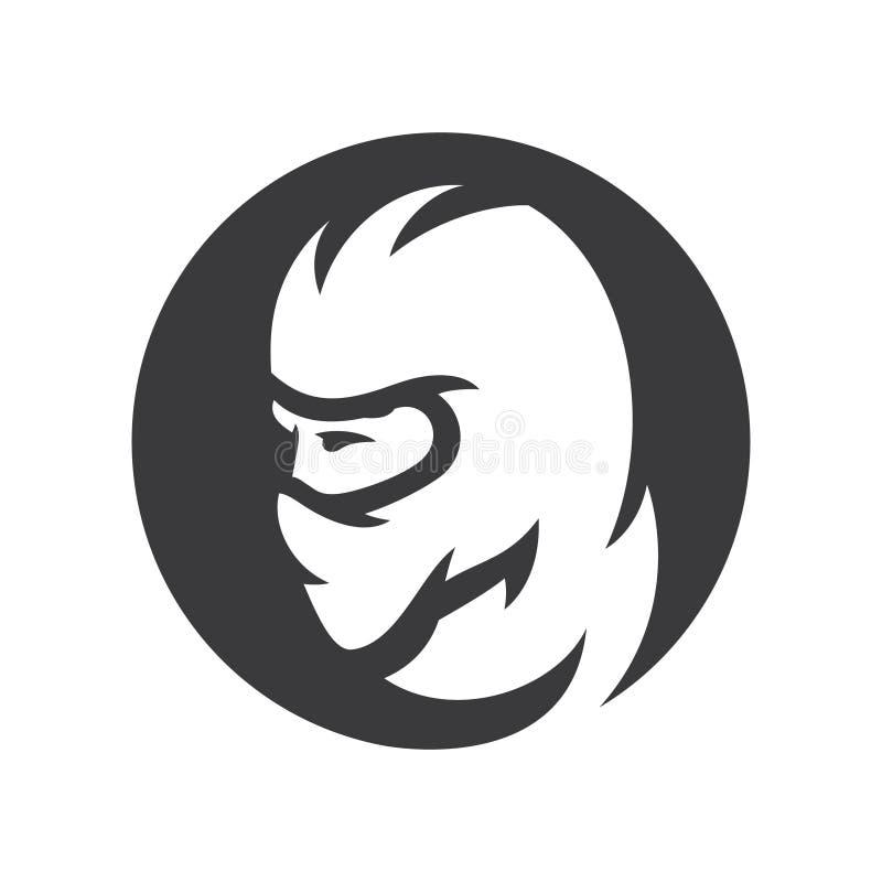 Mann im Kopfschutz Kriegers-Schattenbildzeichen der besonderen Kraft vektor abbildung