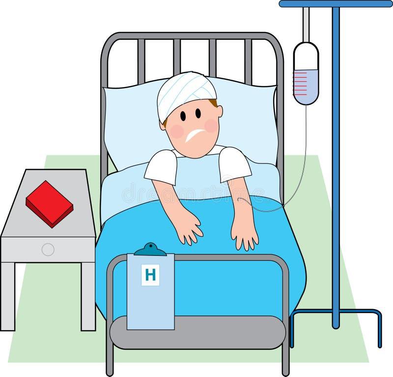 Mann im Krankenhaus-Bett vektor abbildung