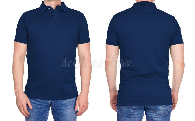 Mann im leeren dunkelblauen Polohemd von Vorder- und Rückseite lizenzfreie stockbilder