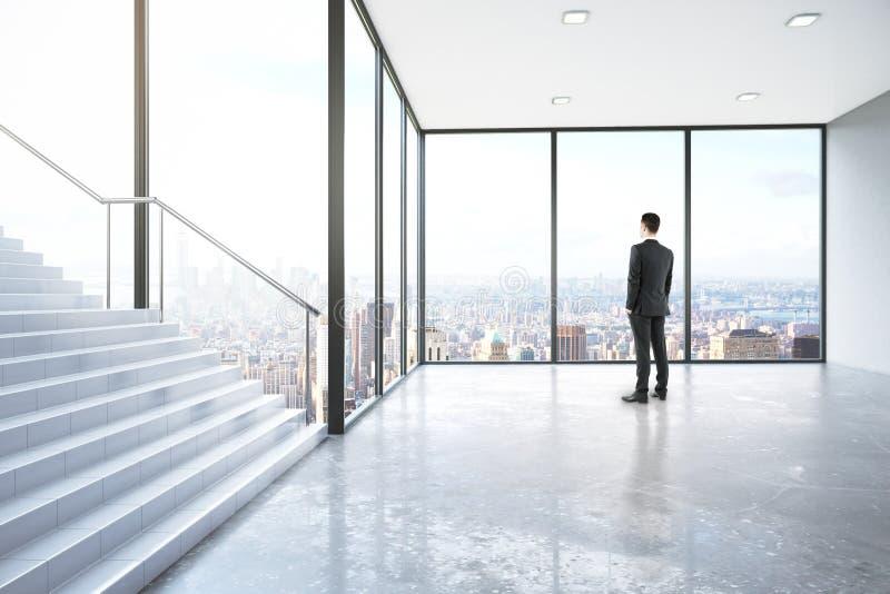 Mann im Raum mit Treppe stock abbildung