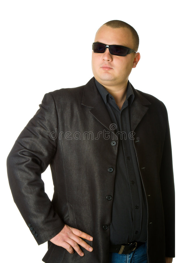 Mann im Schwarzen stockbild