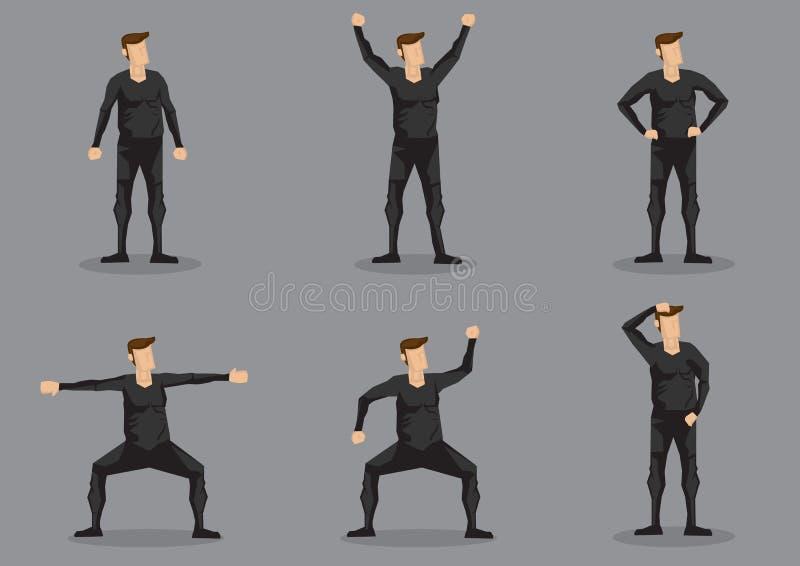 Mann im schwarzen hautengen Kleidervektor-Zeichensatz stock abbildung