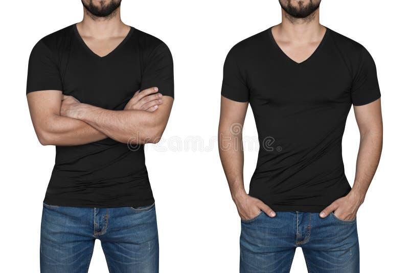 Mann im schwarzen T-Shirt lizenzfreie stockfotos