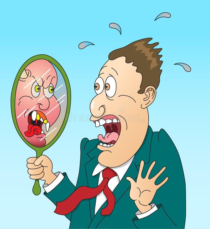 Mann im Spiegel lizenzfreie abbildung