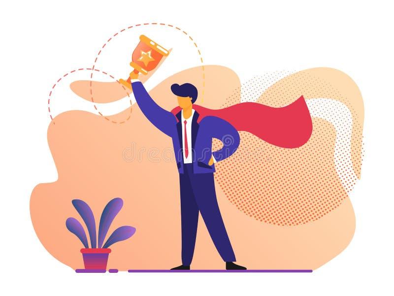 Mann im Superheld-roten Mantel, der Goldbecher hält stock abbildung
