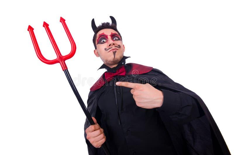 Mann im Teufelkostüm lizenzfreie stockbilder