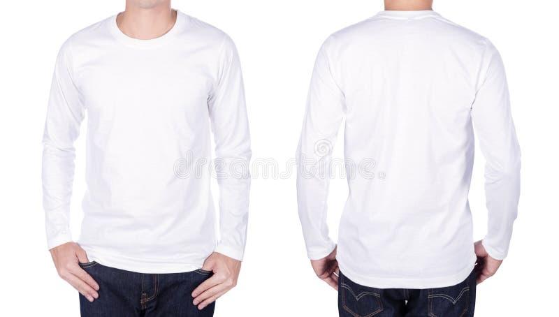 Mann im weißen langärmligen T-Shirt lokalisiert auf weißem Hintergrund lizenzfreies stockbild