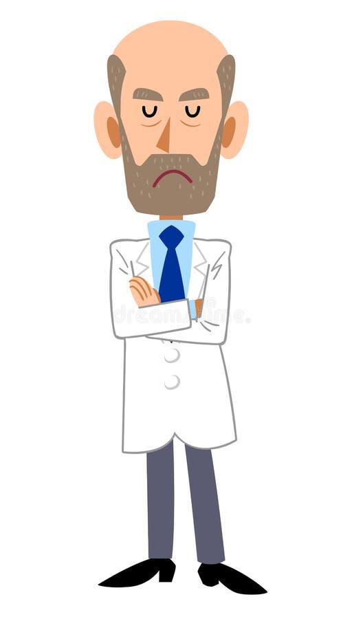 Mann im weißen Mantel mit den Armen gefaltet, Bart lizenzfreie abbildung