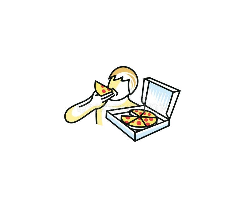 Mann isst Pizzalogoschablone Mann hält eine Pizza in seiner Hand und beißt ein Stückvektordesign ab stock abbildung