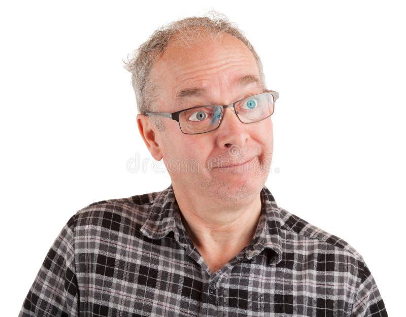 Mann ist scherzend verspottend und jemand stockbilder