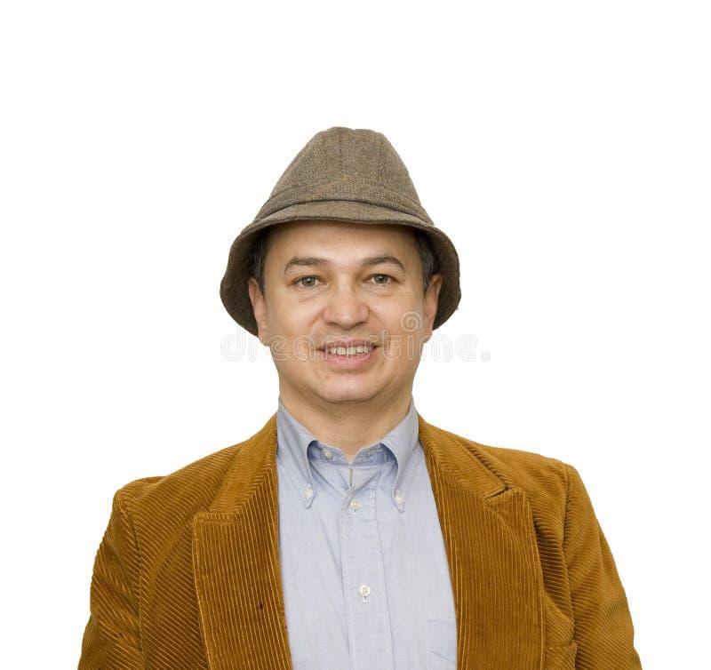 Mann in Jacken-und Hut-lächelndem Quadrat stockfoto