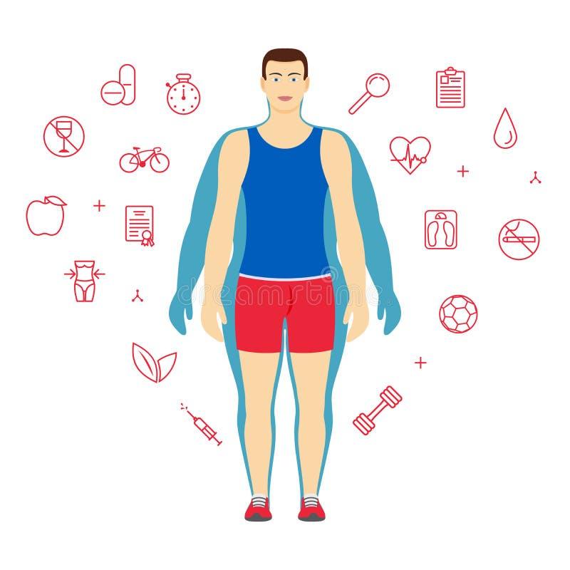 Mann-Körper-Umwandlungs-Konzept Mann vor und nach Diät oder Gewichtsverlust Eignungsdesignschablone lizenzfreie abbildung