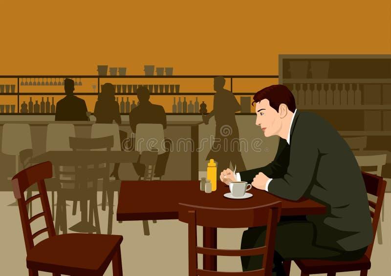 Mann am Kaffee stock abbildung