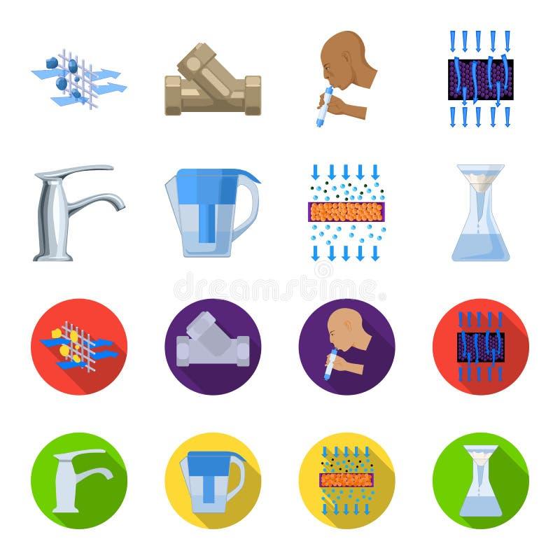 Mann, kahl, Haupt, Hand Gesetzte Sammlungsikonen des Wasserfiltrationssystems in der Karikatur, flacher Artvektor-Symbolvorrat lizenzfreie abbildung