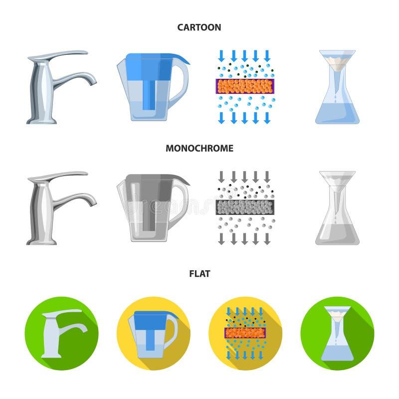 Mann, kahl, Haupt, Hand Gesetzte Sammlungsikonen des Wasserfiltrationssystems in der Karikatur, flacher, einfarbiger Artvektor-Sy vektor abbildung