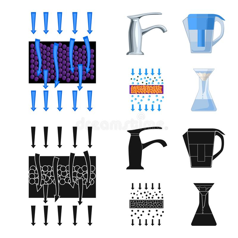 Mann, kahl, Haupt, Hand Gesetzte Sammlungsikonen des Wasserfiltrationssystems in der Karikatur, schwarzer Artvektor-Symbolvorrat vektor abbildung