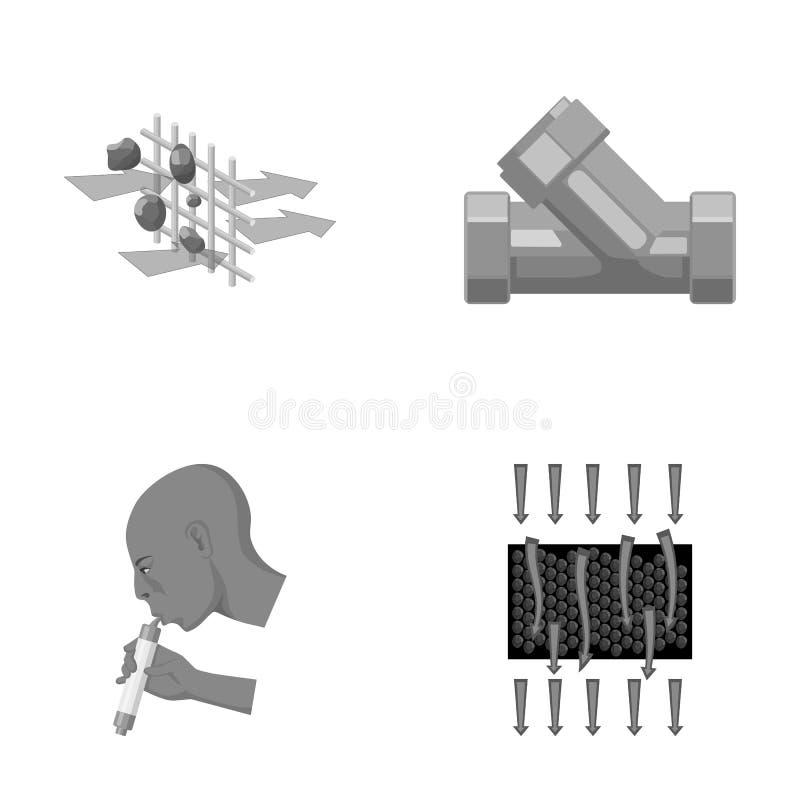 Mann, kahl, Haupt, Hand Vector gesetzte Sammlungsikonen des Wasserfiltrationssystems in der einfarbigen Art Illustration des Symb stock abbildung