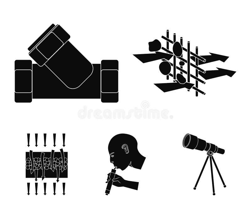 Mann, kahl, Haupt, Hand Vector gesetzte Sammlungsikonen des Wasserfiltrationssystems in der schwarzen Art Illustrationsnetz des S lizenzfreie abbildung