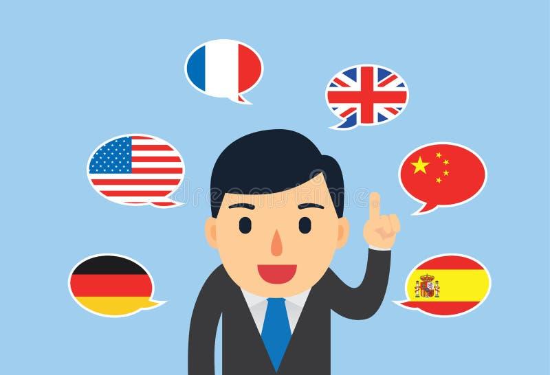 Mann kann das Sprechen mehrsprachig stock abbildung