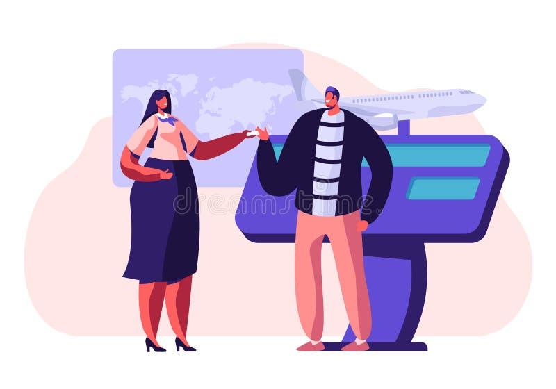 Mann-kaufender Flugschein auf Reisebüro-förderndem Stand, sprechend mit Frauen-Berater oder Förderer, Anzeigendienst lizenzfreie abbildung