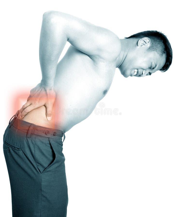 Mann leidet unter den rückseitigen Schmerz stockfoto