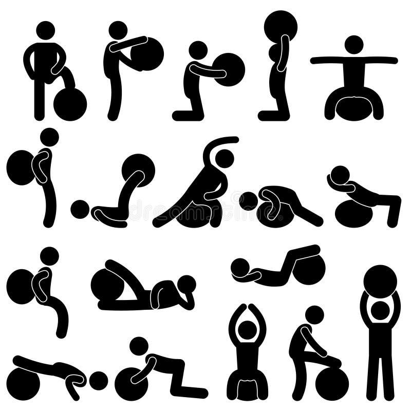 Mann-Leute-Gymnastik-Eignung-Kugel-Schulungsübung vektor abbildung