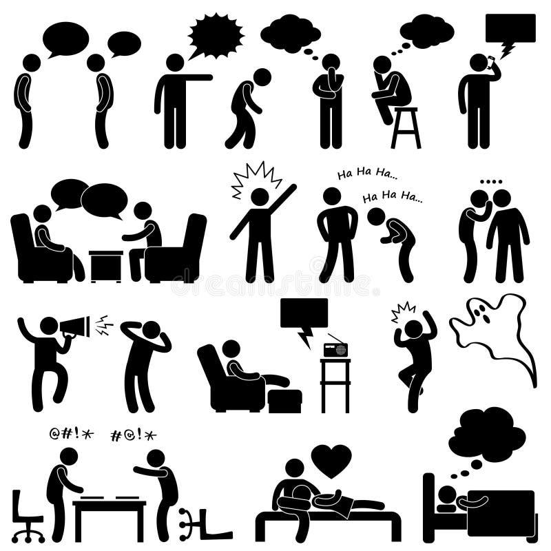 Mann-Leute-sprechendenkendes scherzendes Piktogramm stock abbildung