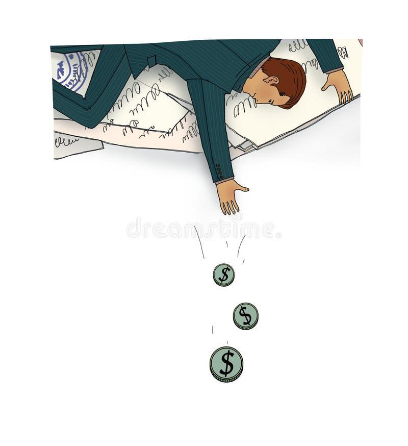 Mann liegt auf einer Wolke von handgeschriebenen Papieren mit Dichtungen und von fallenden Münzen der Fänge von einer Wolke Getre lizenzfreie abbildung