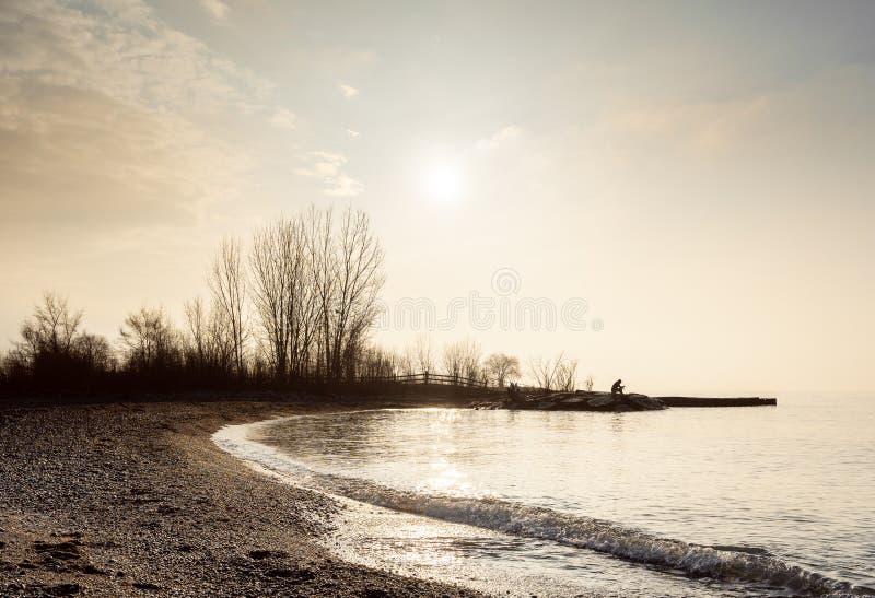 Mann liest beim Sitzen nahe bei ruhigem See lizenzfreie stockbilder