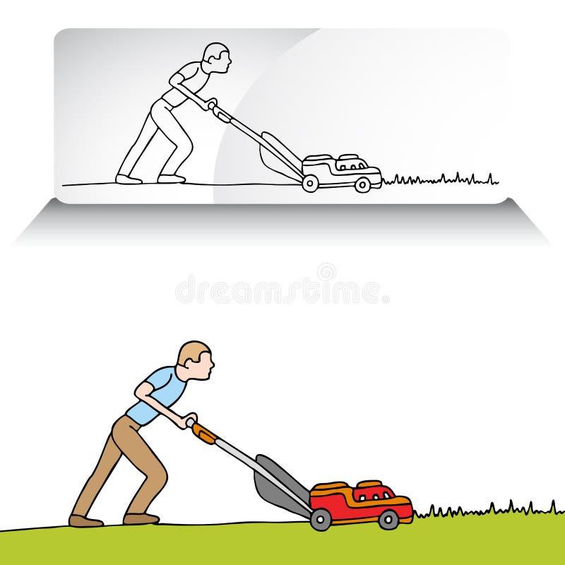 Mann-mähender Rasen lizenzfreie abbildung