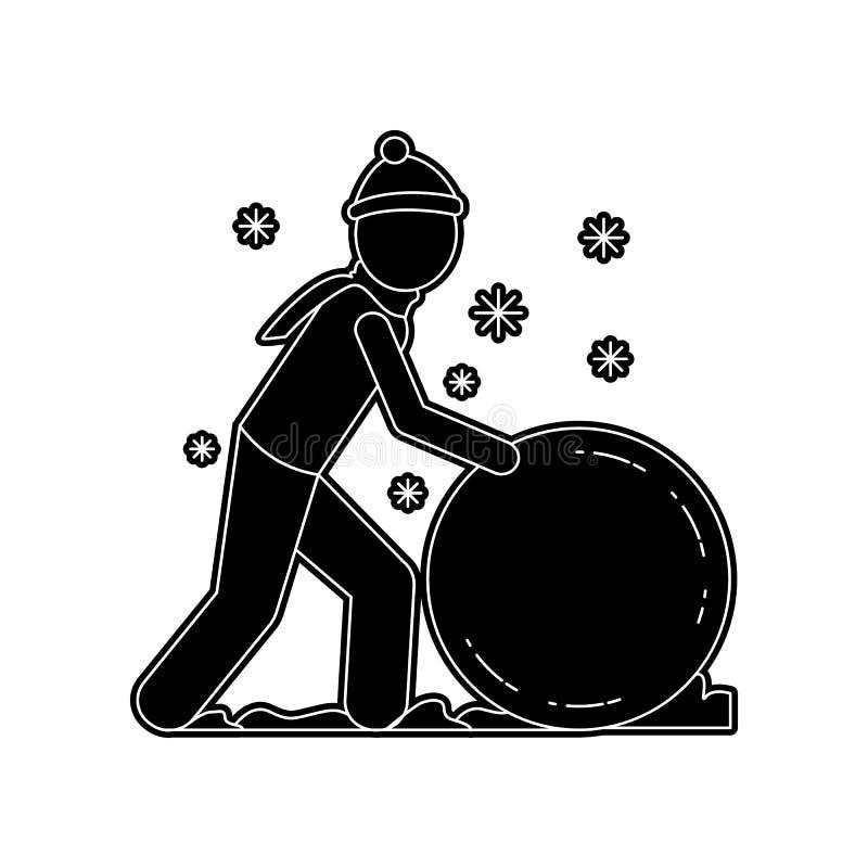 Mann macht eine Schneeballikone Element des Winters f?r bewegliches Konzept und Netz Appsikone Glyph, flache Ikone f?r Websiteent vektor abbildung
