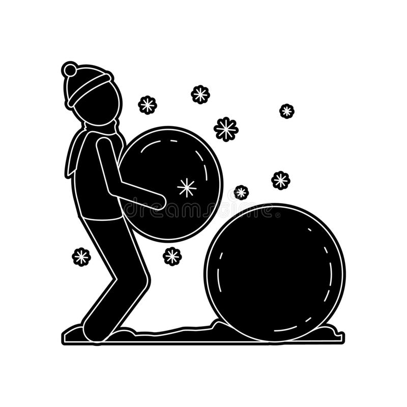 Mann macht eine Schneemannikone Element des Winters f?r bewegliches Konzept und Netz Appsikone Glyph, flache Ikone f?r Websiteent vektor abbildung