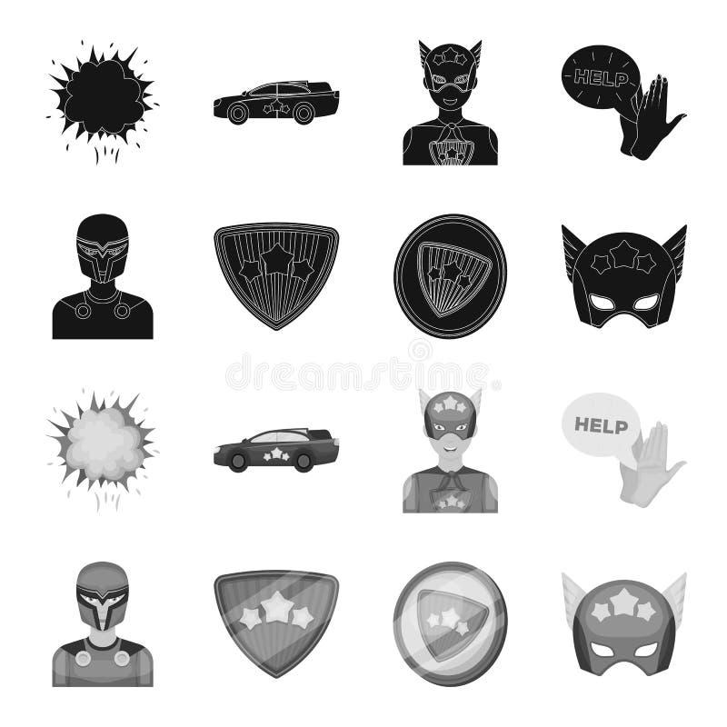 Mann, Maske, Mantel und andere Netzikone in der schwarzen, einfarbigen Art Kostüm, Supermann, superforce, Ikonen in der Satzsamml stock abbildung