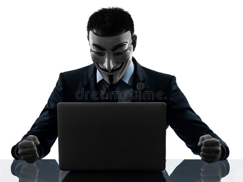Mann maskierte anonymes Gruppenmitgliedsdatenverarbeitungscomputerschattenbild stockfoto