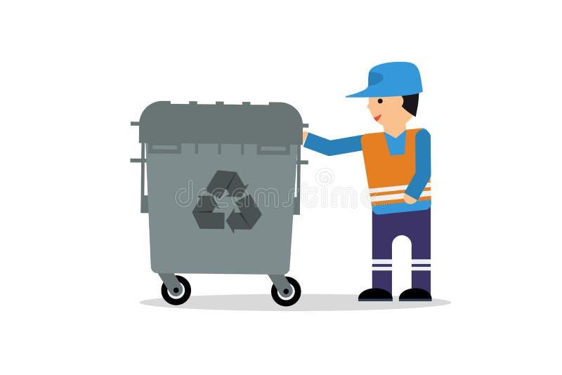 Mann mit Abfallkasten lizenzfreie abbildung