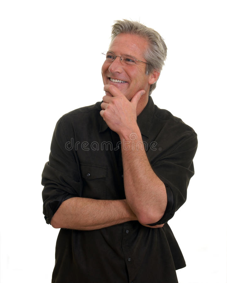 Mann mit anerkennend Lächeln lizenzfreies stockbild