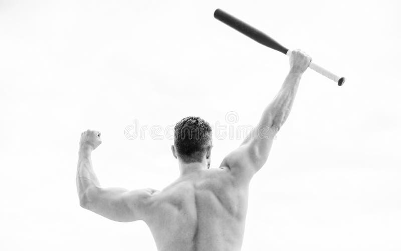 Mann mit Baseballschl?ger Einfach der beste muskul?se hintere Mann lokalisiert auf Wei? Aufstellung in der Turnhalle kriminell Ro stockbild