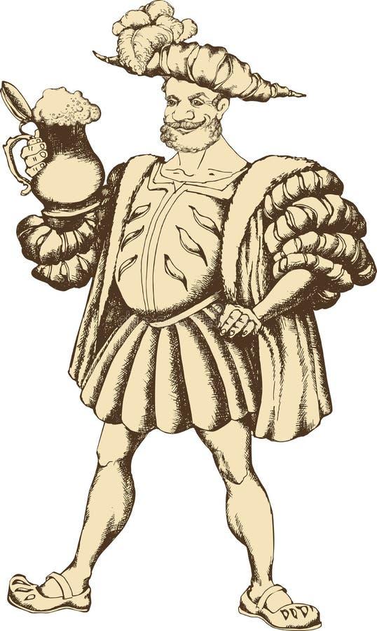 Mann mit Bierbecher lizenzfreie abbildung