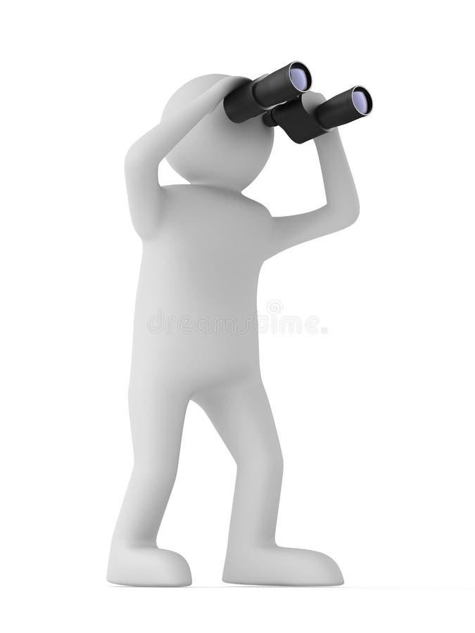 Mann mit binokularem auf weißem Hintergrund lizenzfreie abbildung