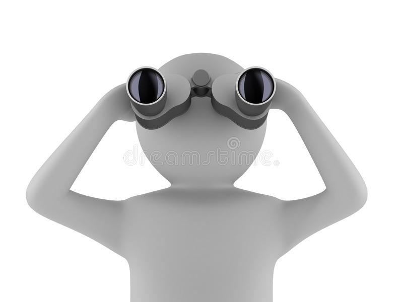 Mann mit binokularem auf weißem Hintergrund stock abbildung