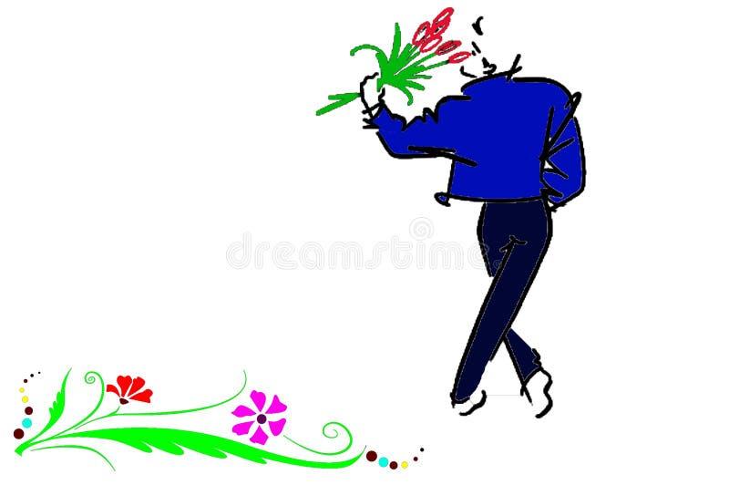 Mann mit Blumenauslegung stockfotos