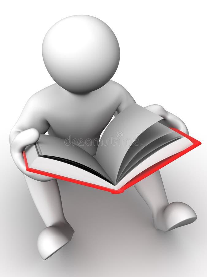 Mann mit Buch lizenzfreie abbildung