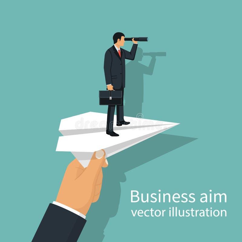 Mann mit dem Aktenkoffer, der auf Papierfläche steht, um Geschäft zu erzielen vektor abbildung