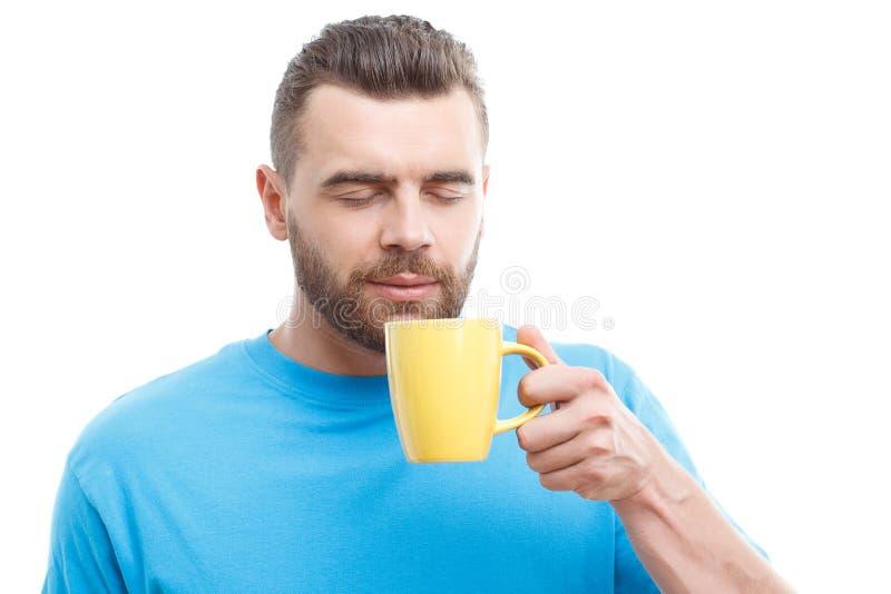 Mann mit dem Bart, der Tasse Kaffee hält lizenzfreie stockfotos