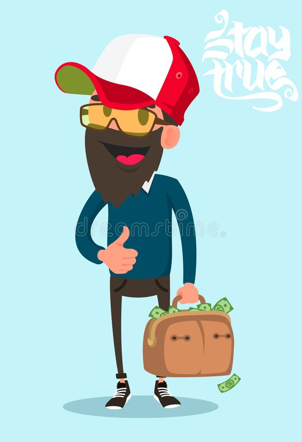 Mann mit dem Koffer voll von der flachen Vektorillustration des Geldes lizenzfreie abbildung