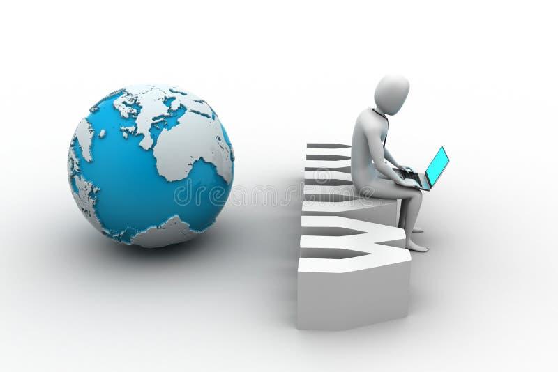 Mann mit dem Laptop, der auf WWW-Aufkleber sitzt lizenzfreie abbildung