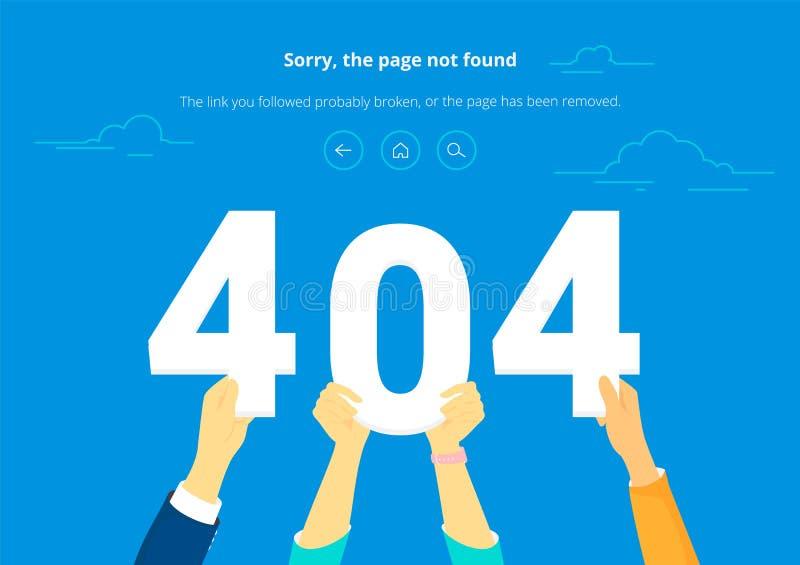 Mann mit dem PC, der zu Hause den gefundenen Fehler 404 Seite nicht sitzt lizenzfreie abbildung