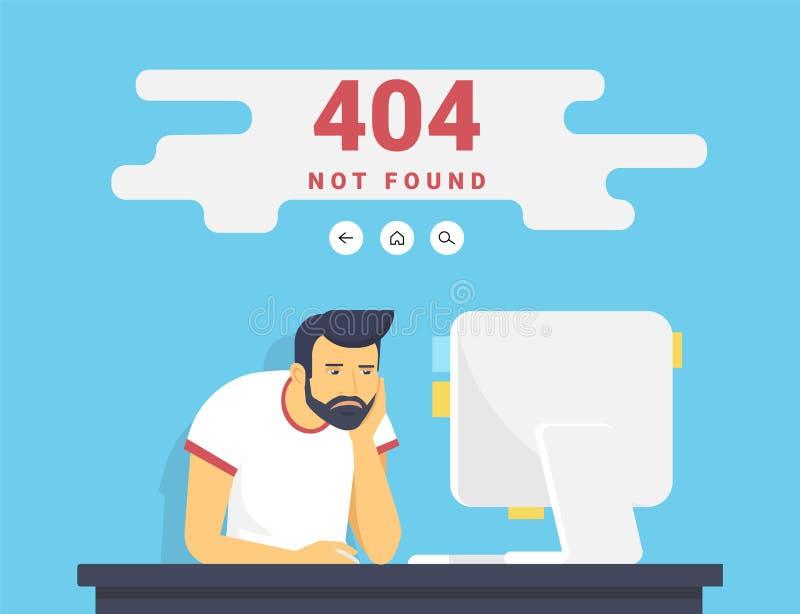 Mann mit dem PC, der zu Hause den gefundenen Fehler 404 Seite nicht sitzt vektor abbildung